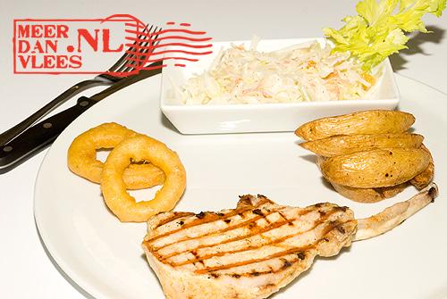 Pork racks onion rings home fries