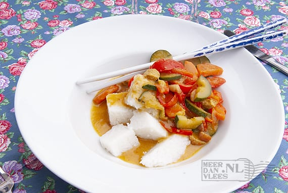 Vegetarische wokschotel met lontong