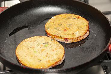 Vegetarische groenteschijf met parmentier en zilvervliesrijst