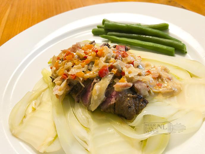 Biefstuk met gestoofde venkel en Shii-Take-brunoise