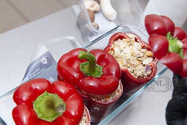 Vegetarische gevulde paprika met clotted cream