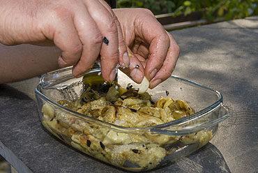 Aubergine, op de grill gestoofd