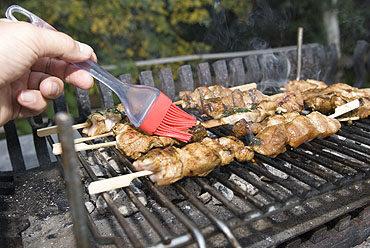 Brochette (spies) van kalkoenfilet op de grill